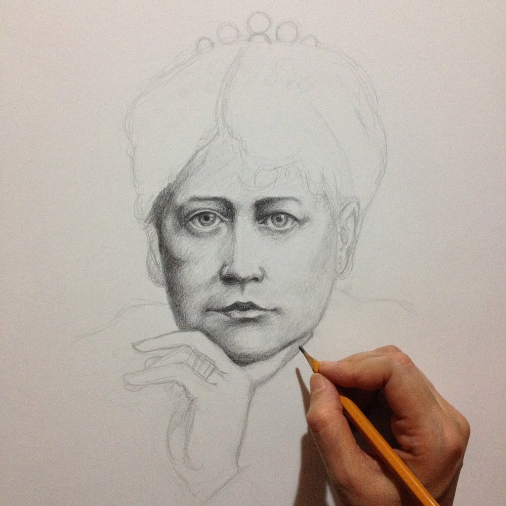 Madame Helena Blavatsky, work in progress.
