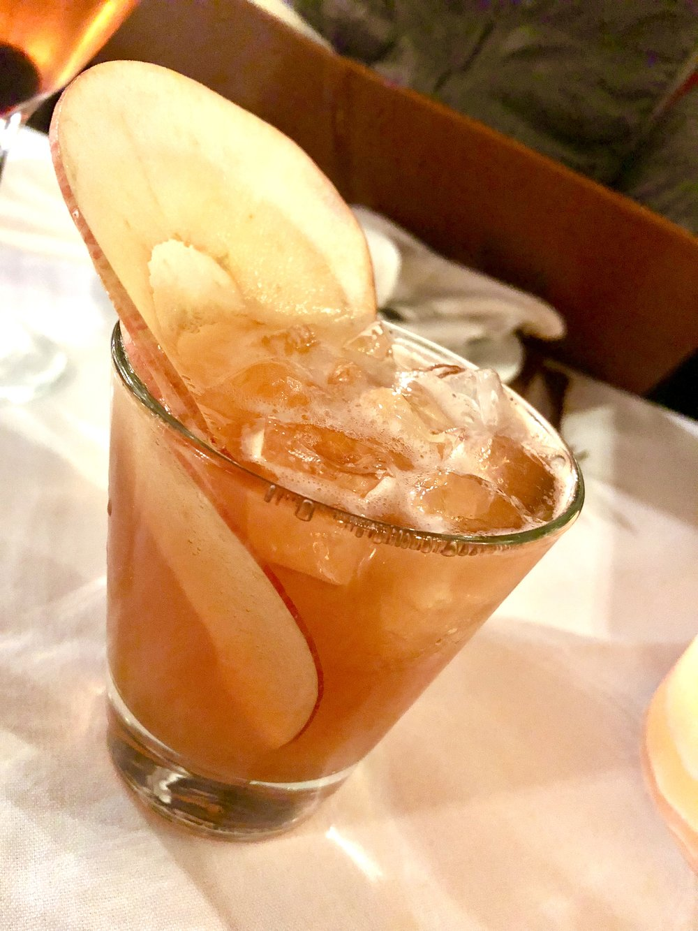 Shrub Cocktail at Ananda - Bourbon, honeycrisp apple, and ginger.
