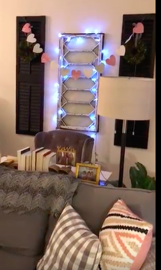 I think this picture was right before I took these lights down. For the Christmas Season I hung white snowflake lights around the window pane. Just sharing because I like to decorate this Window Wall Feature for the season, beyond the mini wreaths!