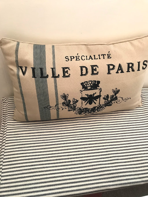 Quick shot of my bench: my Mom made me this bench cushion (she can use a sewing machine! I can't!) and I love the French Ticking Stripes. I also have had this cute pillow for years, but funny enough it matches my table stencil!