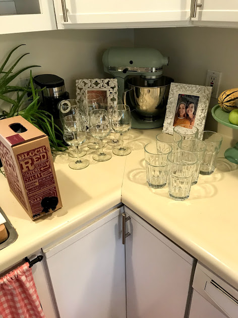 TJ's boxed wine? Check. Wine glasses out? Check. Fancy glasses for seltzer!