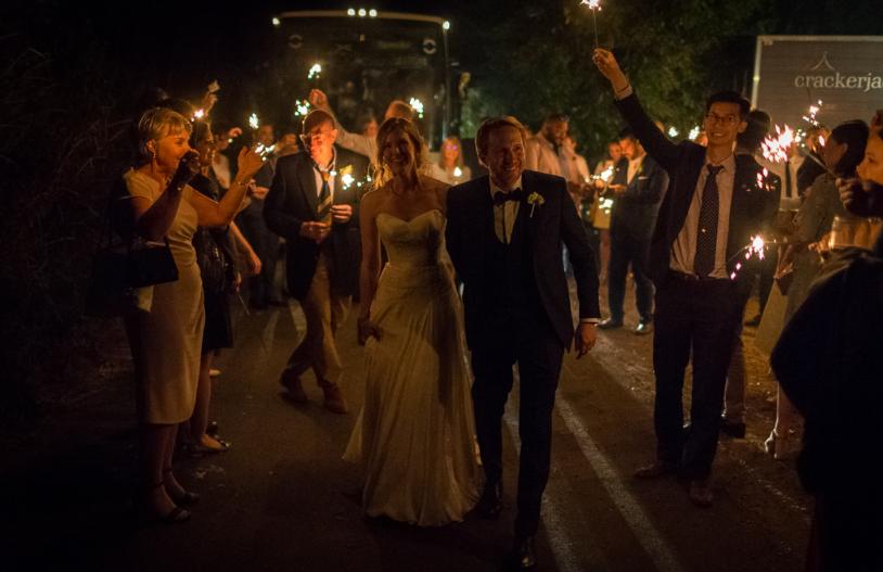 Sparkler send off, Suffolk Wedding