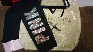 21748270ec Victoria's Secret PINK Bling Cotton Yoga Shimmer Legging Ombre Large ...