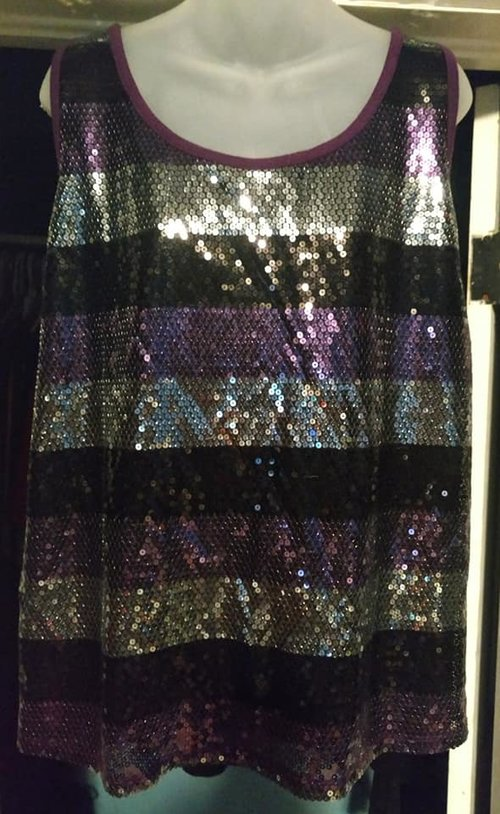 c4f1c84a51c02 Lane Bryant Purple   Black Sequined Tank Top — BECKO S RESALE