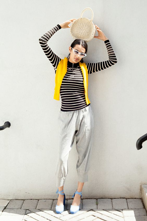 Striped slay top, Roxy sweater, Jordan pant, Castaner Carina via  Man Repeller