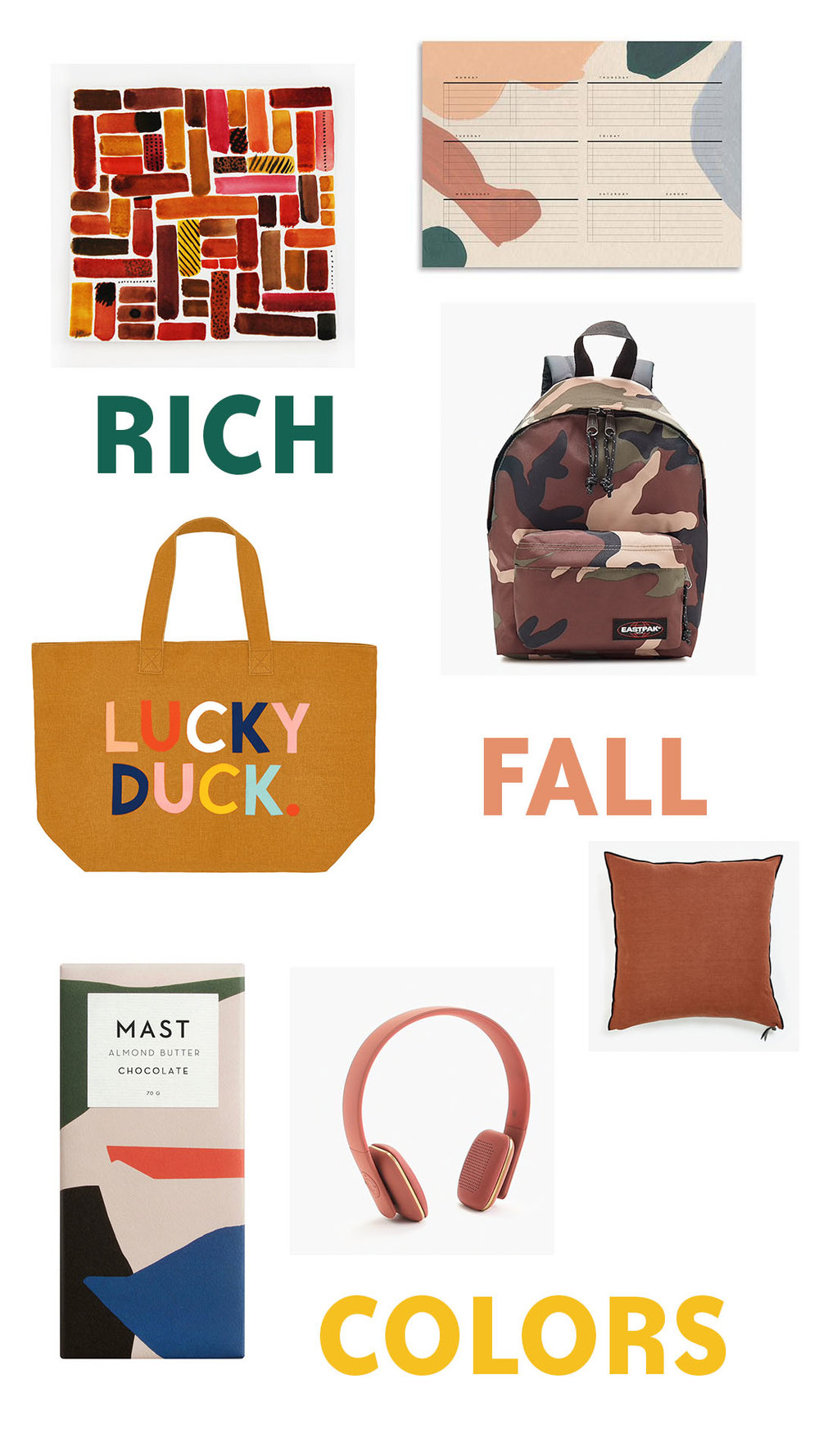 Original Painting - coming soon to our shop.  Planner  - $14.  Backpack  - $45.  Pillow  - $150 - $175.  Lucky Duck Tote  - $69.  Chocolate  - $72 / case.  Headphones  - $145.