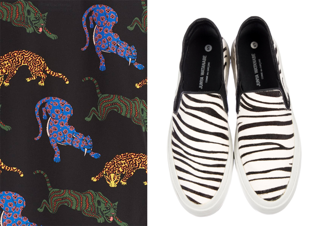 Tee Print - via  Stella McCartney . Zebra slippers - via  The Real Real .