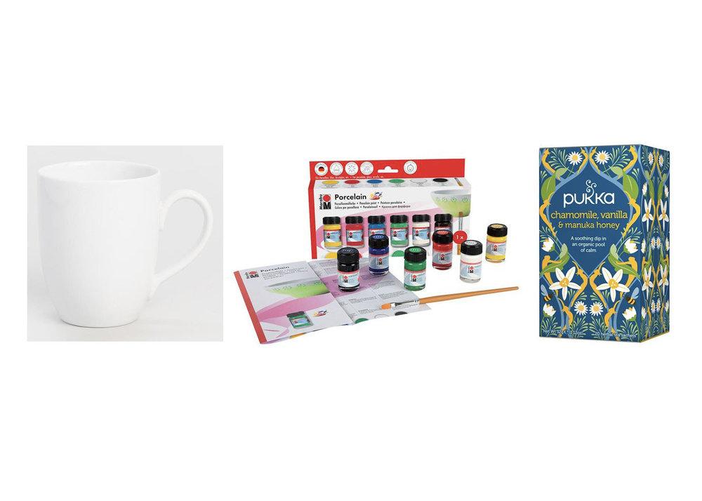 Mug Set  +  Ceramic Paint  +  Tea