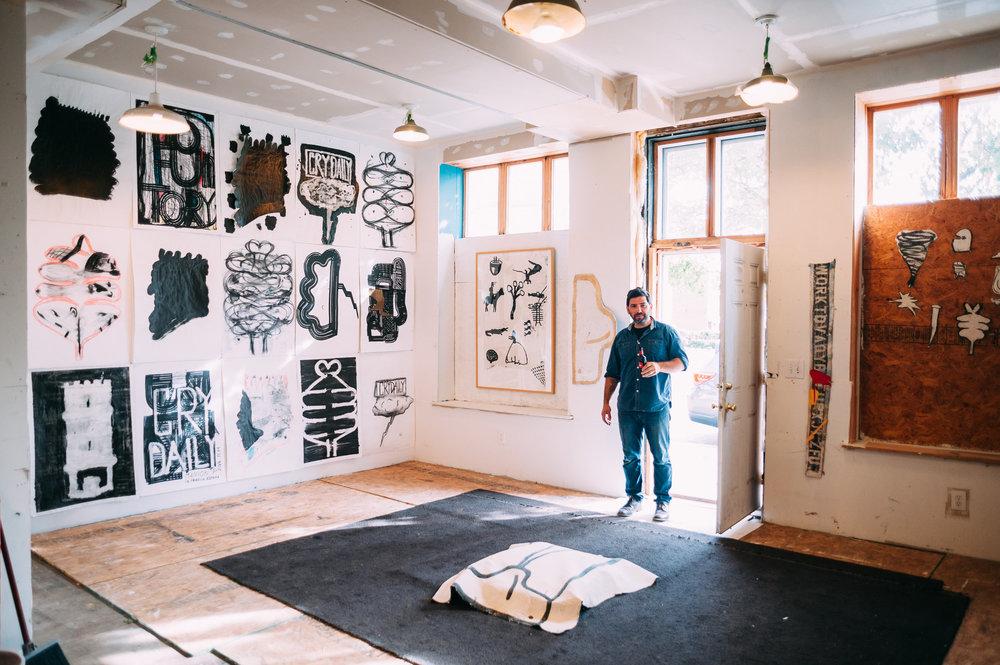 Manion in his Vermont Studio Center studio. Image courtesy of the artist.