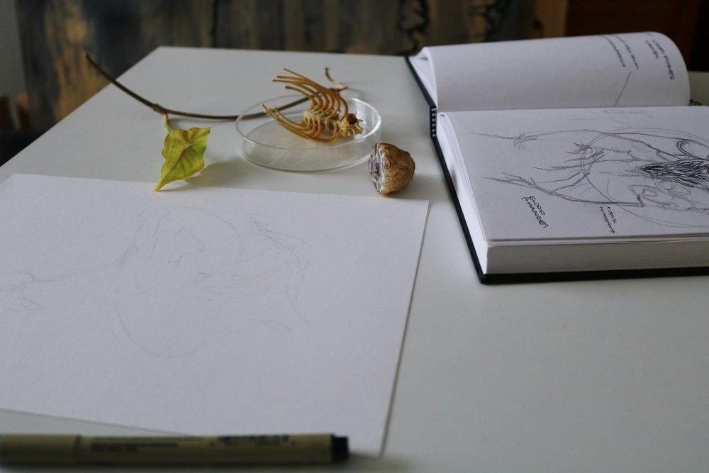 Detail of artist's workspace. Image courtesy of the artist.