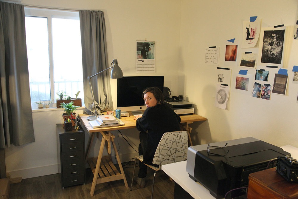 Huebner in her studio. Image courtesy of the artist.