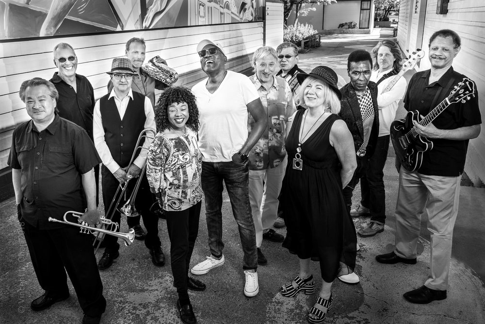 THE MOTOWN BAND , FEATURING: VOCALISTS DUTCH ROBINSON, KENTISH STEELE, CECILE LAROCHELLE & THEDDA MARIE. OLAF DESHEILD, GUITAR; DOUG LOUIE, PIANO; SAM SHOICHET, BASS; ROB NEUMANN, DRUMS.  HORNS: HOWARD ANDERSON, SAX; DAVE QUINN, SAX; KEVIN LEE, TRUMPET; GREG FARRUGIA, TROMBONE.