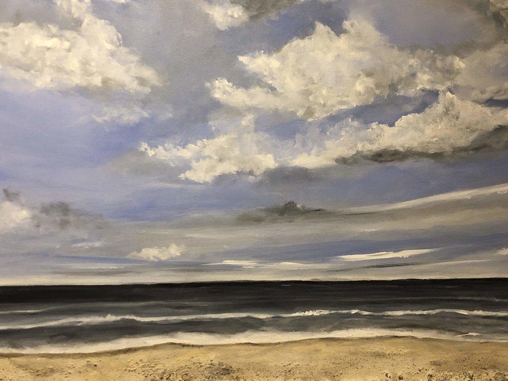 "Beach Landscape - Artist, Kirn Gill, Kizmit Gift GalleryAcrylic/mixed media 24 x 36""Retail value: $700."