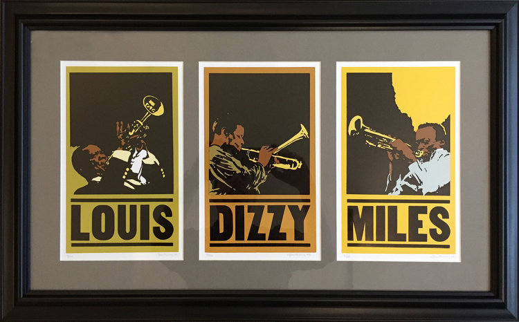 """JAZZ TRIO"" - Artist, Paul Wood, Number 52 Studio + Gallery. Lino cut and wood type set 9/20, framed, 30 x 18.5"" Retail value: $450."