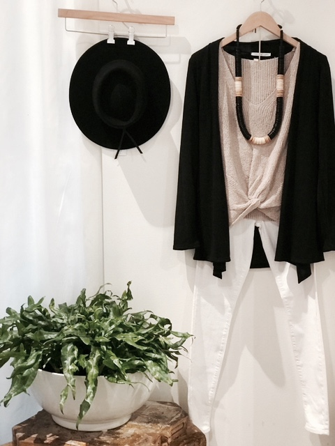 boutique hat and cardigan outfit