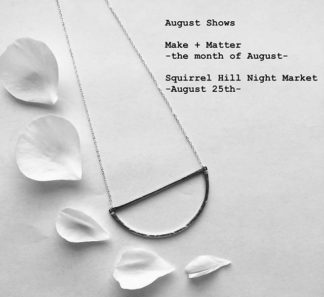Come support local artists and makers at these August shows! ✨⚒✨ #shopsmall #shoplocal #shopunique #shoppittsburgh #pittsburgh #smallshinedesigns #smallbusiness #mixedmetal #jewlerydesign #jewelrymaking #designer