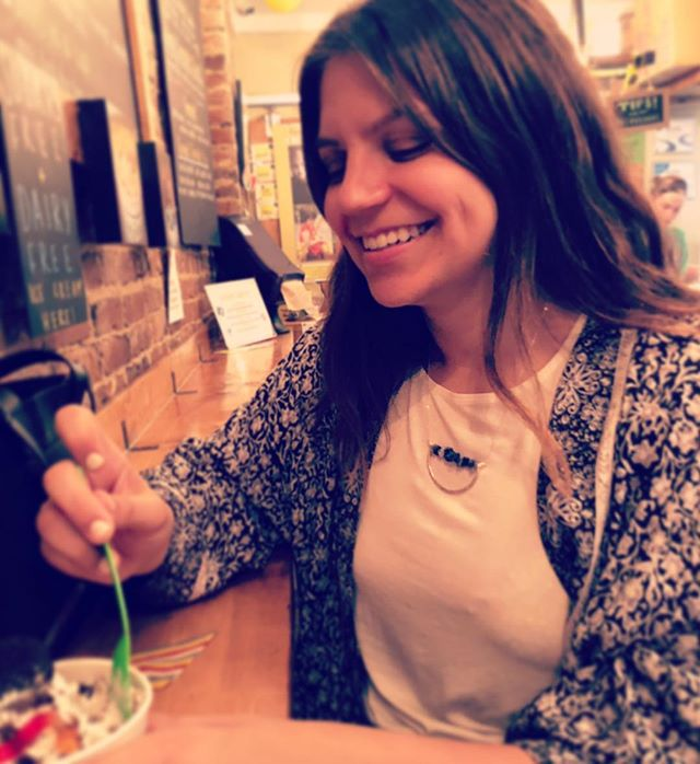 @mollyostrow rocking a @smallshinedesigns for girls night! @naturollcreamery . . . . #icecream #girlsnight #smallshinedesigns #jewelrymaking #designer