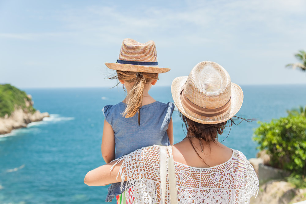 Mother and Daughter looking at the ocean