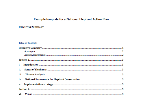 Example Template for National Elephant Action Plans