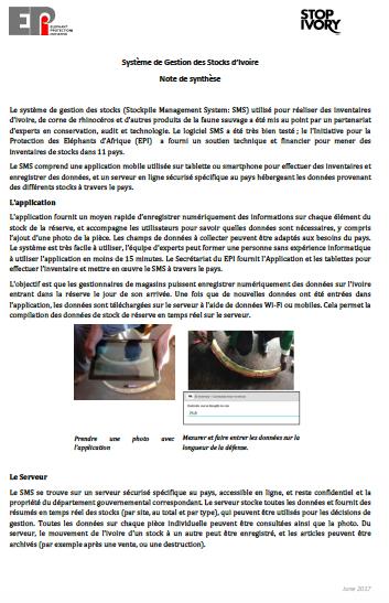 Système de Gestion des Stocks d'Ivoire (SMS): Note de synthèse