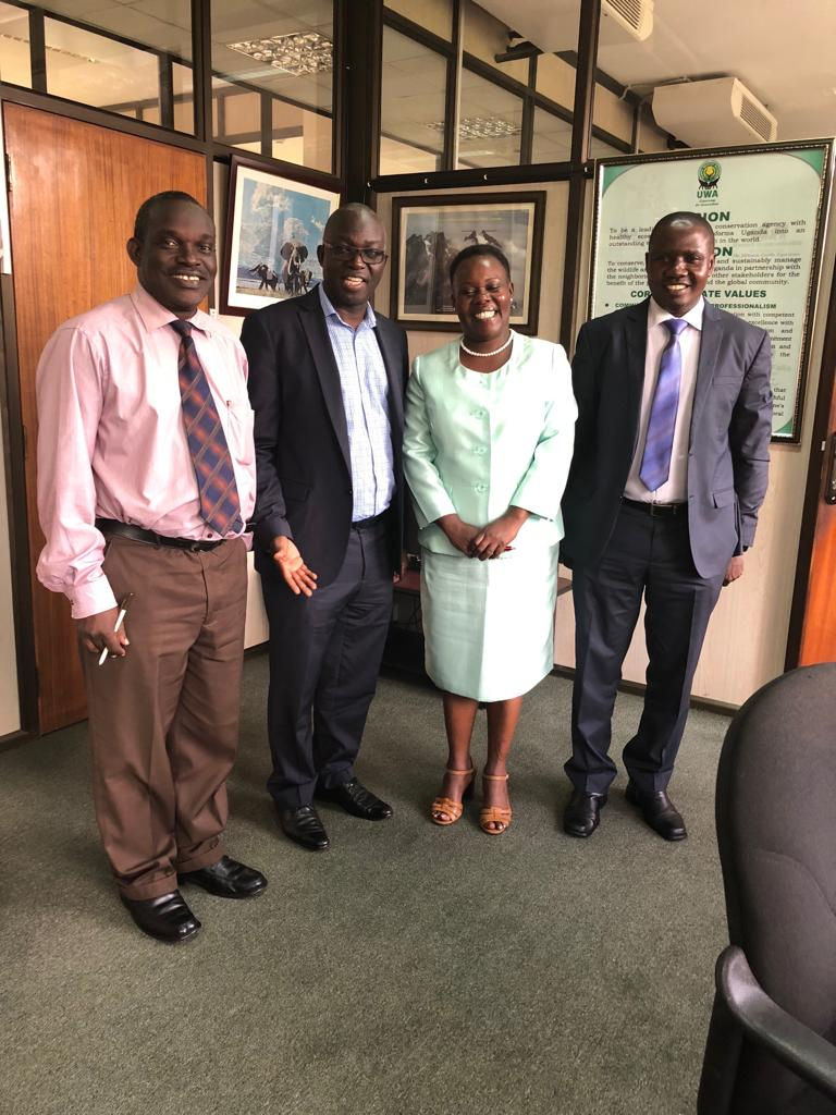 Edgar Buhanga, Deputy Director planning, Sam Mwandha Executive Director UWA, Winnie Kiiru, Charles Tumwesigye Deputy Director Field Operations