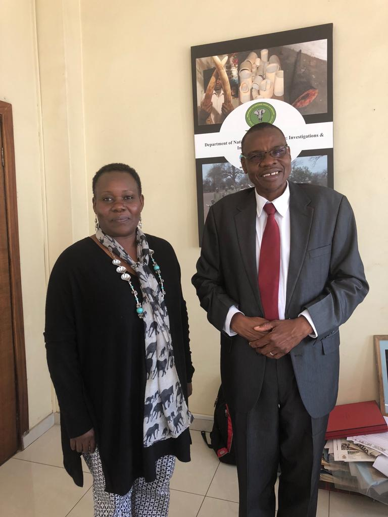 Winnie Kiiru and Brighton Kumchedwa, Director of National Parks & Wildlife