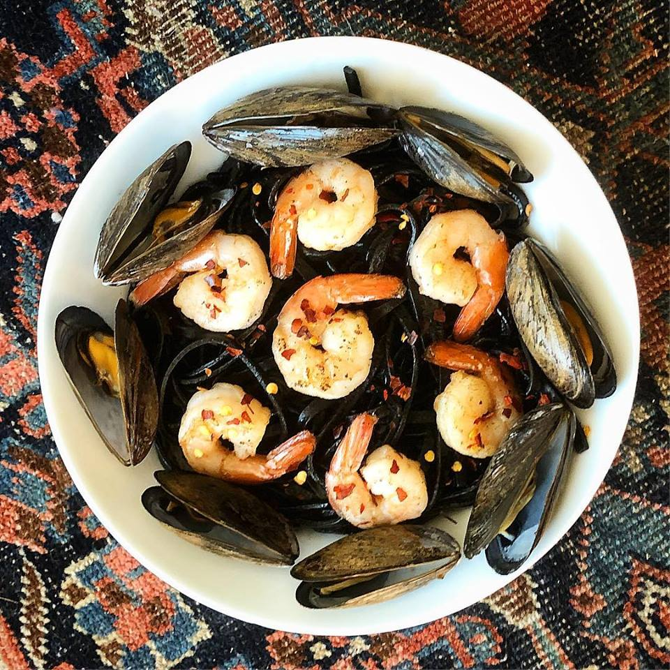 Squid Ink Linguine with Mussels and Grilled Shrimp