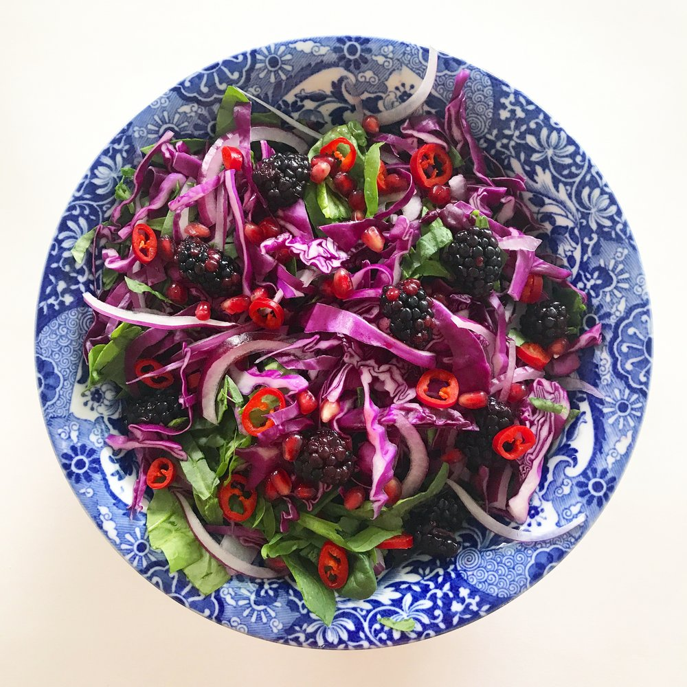 Blackberry and Red Cabbage Slaw