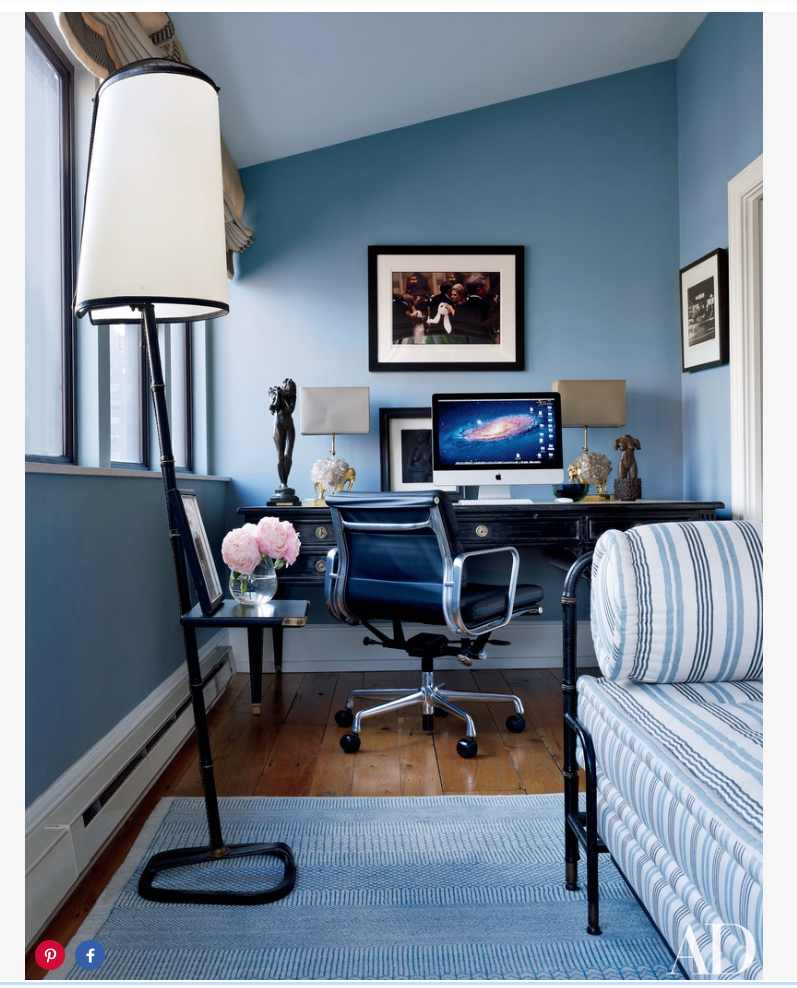 In the study, a color photograph by Elliott Erwitt overlooks a Jansen desk and an Eames chair by  Herman Miller ; a Jacques Adnet daybed upholstered in a  Loro Piana  linen and an Adnet floor lamp from Bernd Goeckler Antiques are arranged on an  Orley Shabahang  carpet.