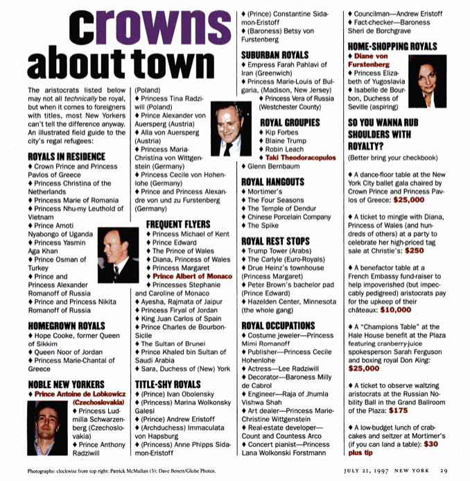 Crowns About Town New York magazine