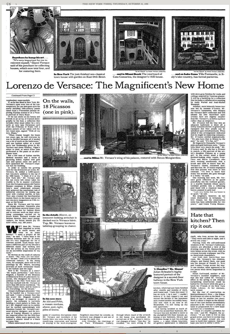 Lorenzo de Versace by Christopher Mason, New York Times