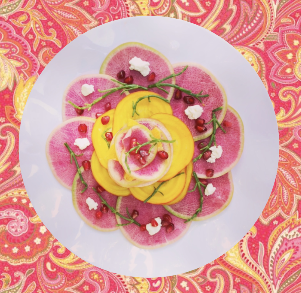 Pickled watermelon radish, golden beets, and samphire with goat cheese
