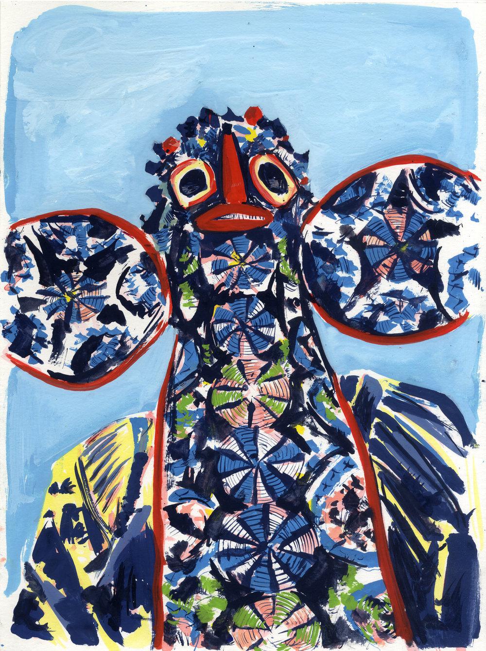 Elad Larom, MASK BRUTAL (series), 2017, gouache on paper_1, 31X21 cm.jpeg