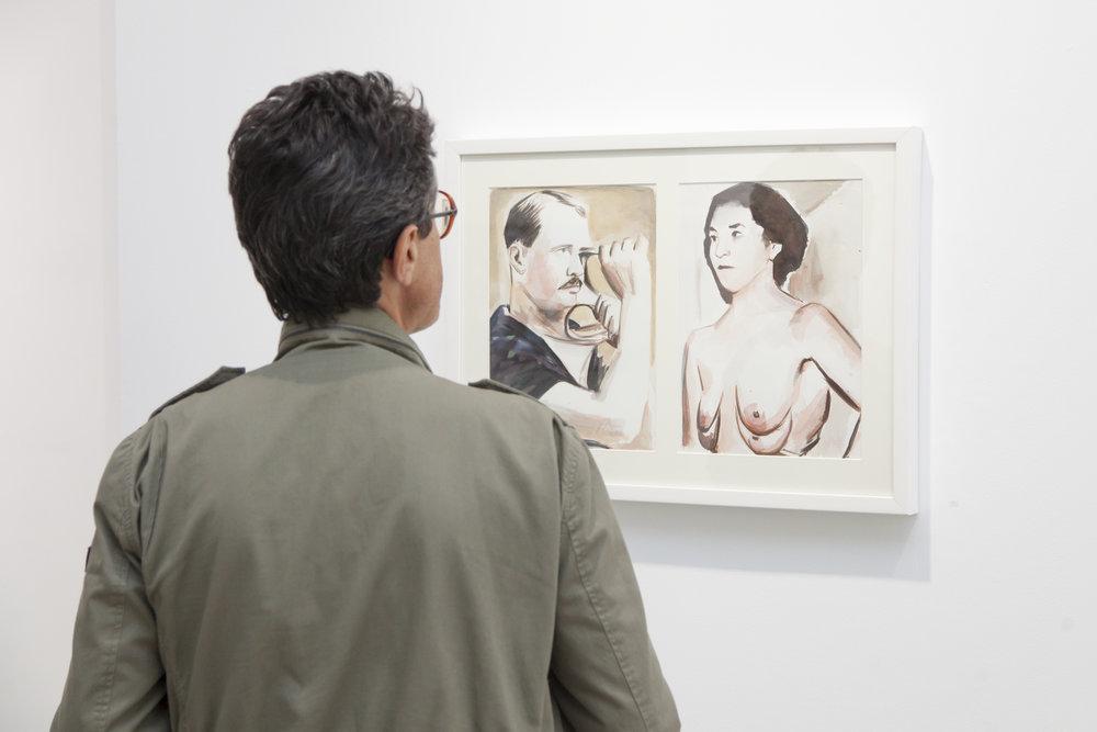 Instalación de Elad Larom, Hombre flexible, mujer fértil, 2013, acuarela sobre papel, 70 x 50 cm.