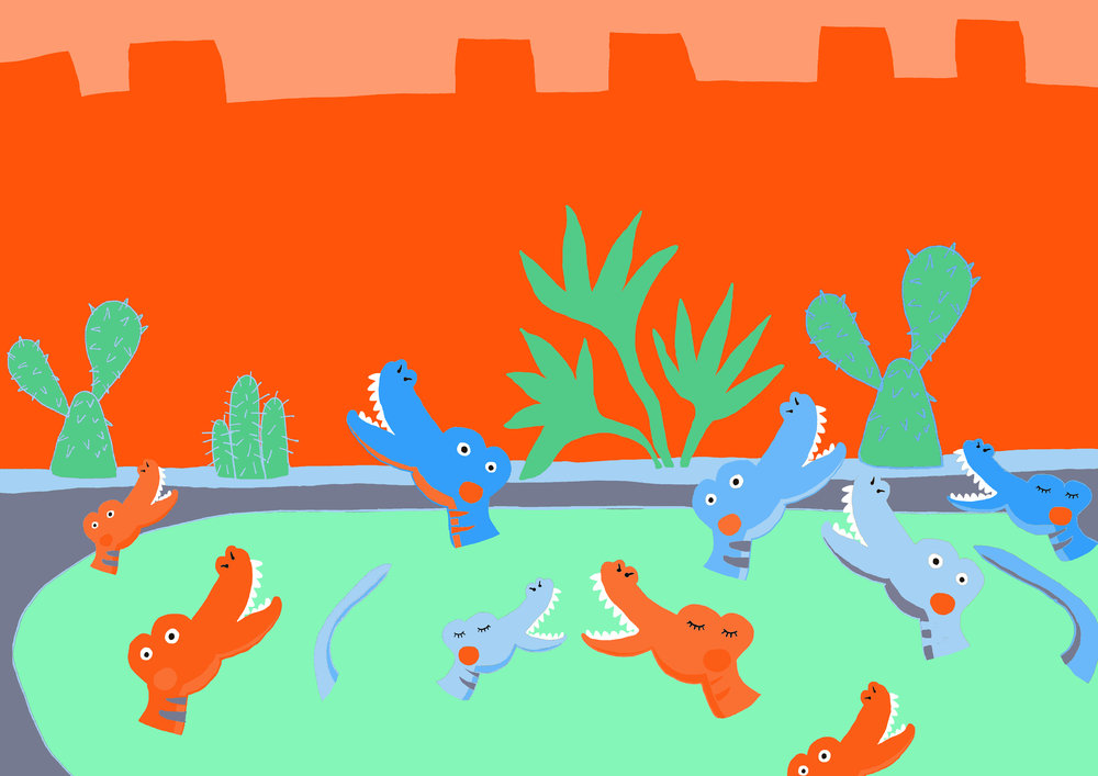 "Children's Book illustration; ""Crocodile Lake"", inspired from the green lake at the Barbican Centre"