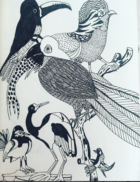 I might re-do a large copy of these birdies and make it into a print...