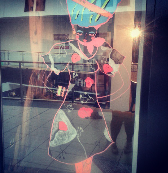 Commissioned by  Petit Miracles Hub  to paint the windows, glass panels and esculators in  West12 shopping Centre .