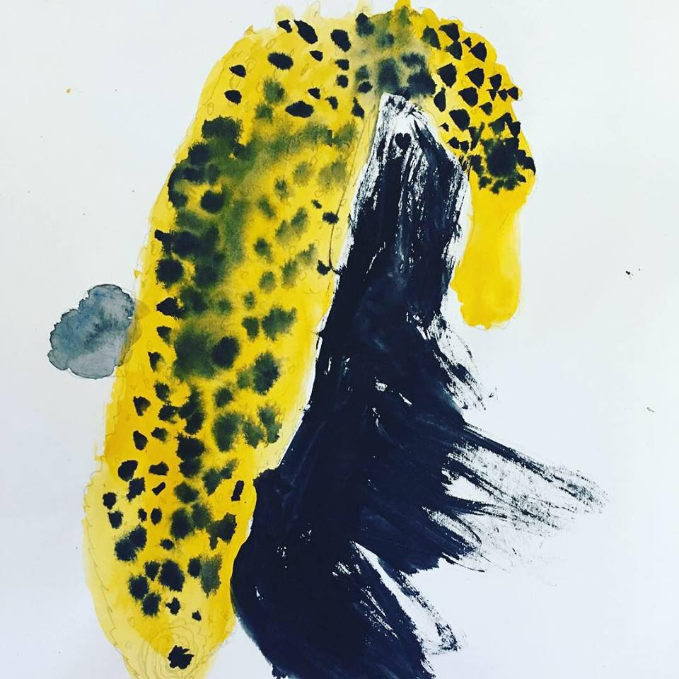 I just adore the way the yellow pops against the black and white negative space here and the black dots which merge into the yellow, I can envisage this piece on canvas, hanging in an art gallery.