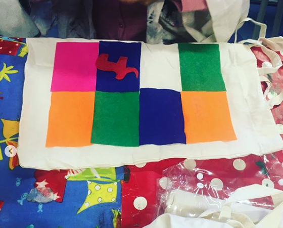 Elmer inspired patchwork tote bags.    Story Readers craft sessions (for 3-11 year olds) at Custom House Library through charity  Ingeenium