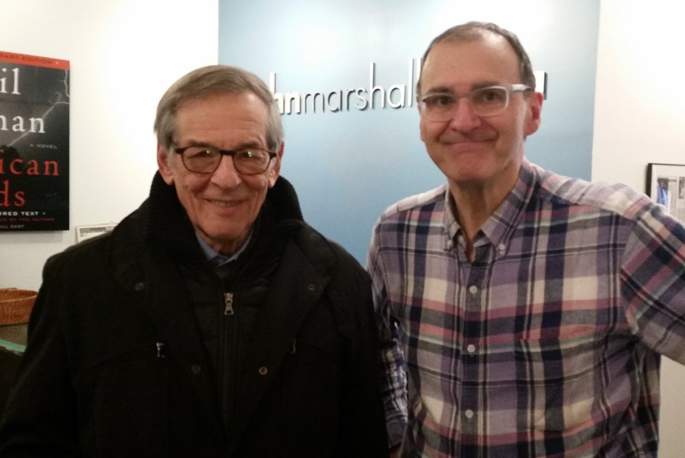 """Gordon takes a break with Pulitzer Prize-winning author Robert Caro while directing Mr. Caro's recording of his newest book, """"Working: Researching, Interviewing, Writing."""""""