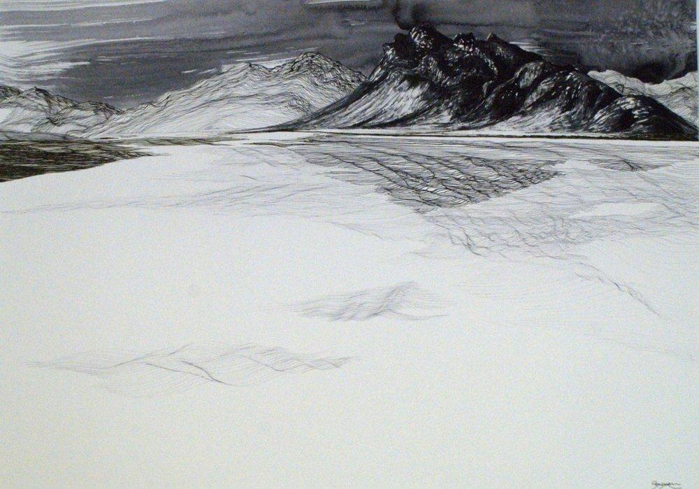 Pedder Subsumed - Pen and Ink - 2015 - SOLD