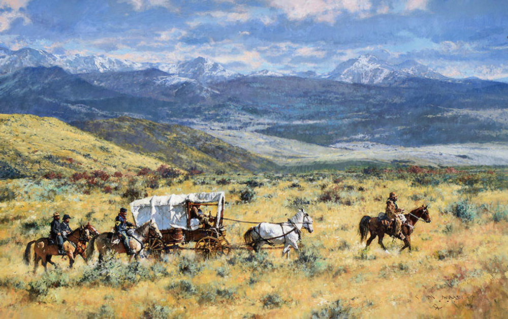 """*****SOLD***** """"COMING IN - A WELCOMED ESCORT"""" Oil on Linen 34"""" x 54"""" Sold at  Quest For The West, The Eiteljorg Museum  Indianapolis, IN Sept 8-9, 2017"""