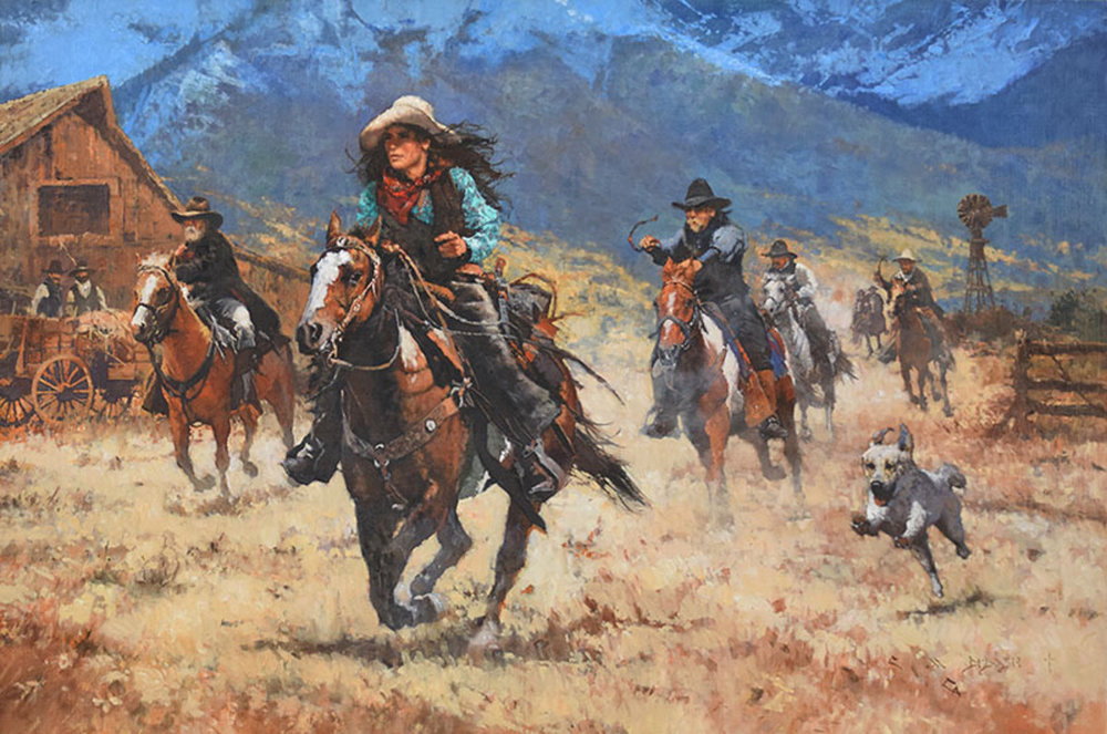 """*****SOLD*****  """"HER LIFE WAS THE COWBOY LIFE"""" - oil on linen - 32"""" x 48"""" Sold Nov 18, 2017, at the American West Show at Settlers West - Tucson, AZ"""
