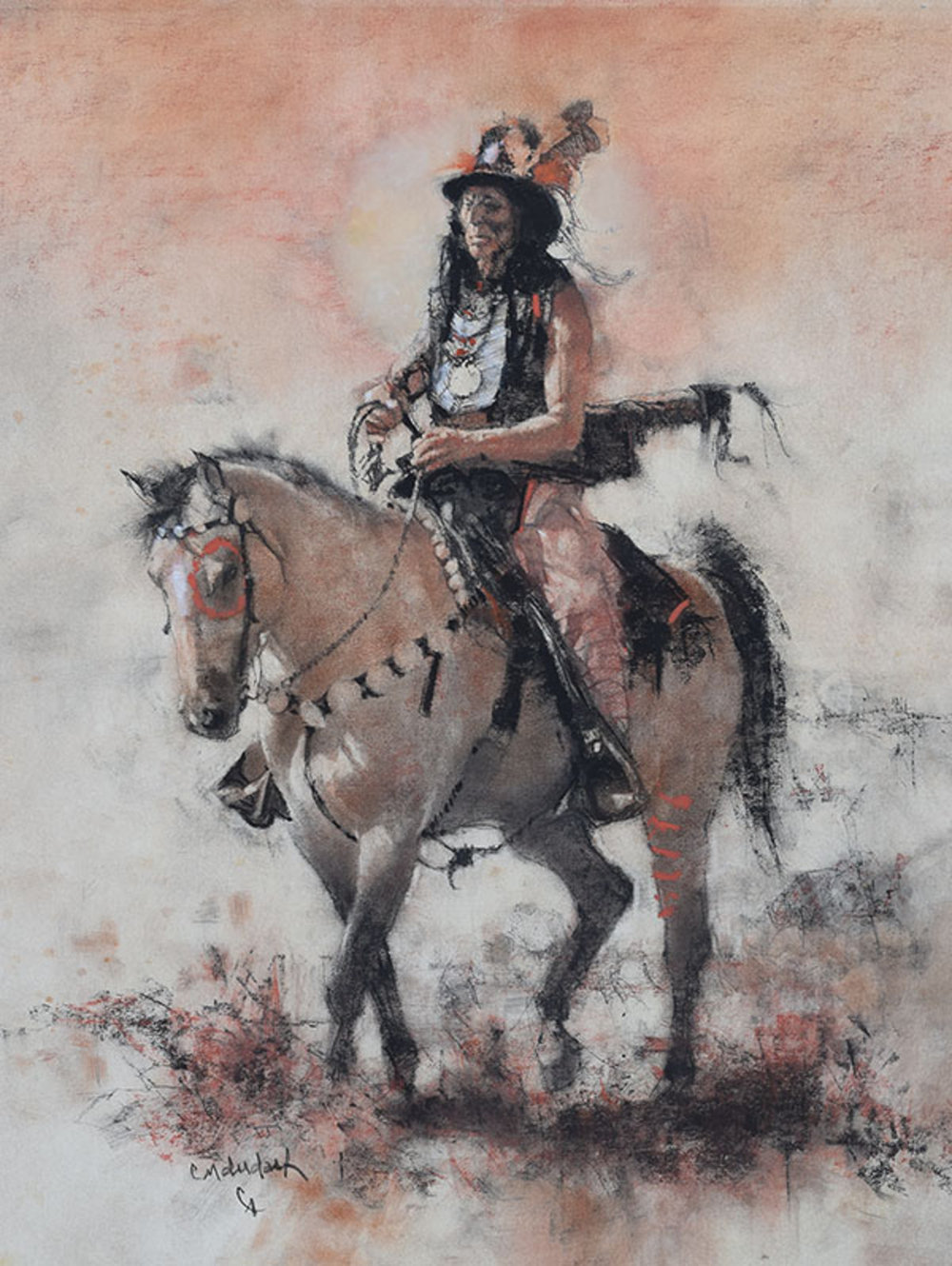 """*****SOLD*****  """"FANCY HAT"""" Charcoal and Chalk on Paper 24"""" x 18"""" Sold at Cowboy Artists Of America - Cowboy Crossings 2017"""