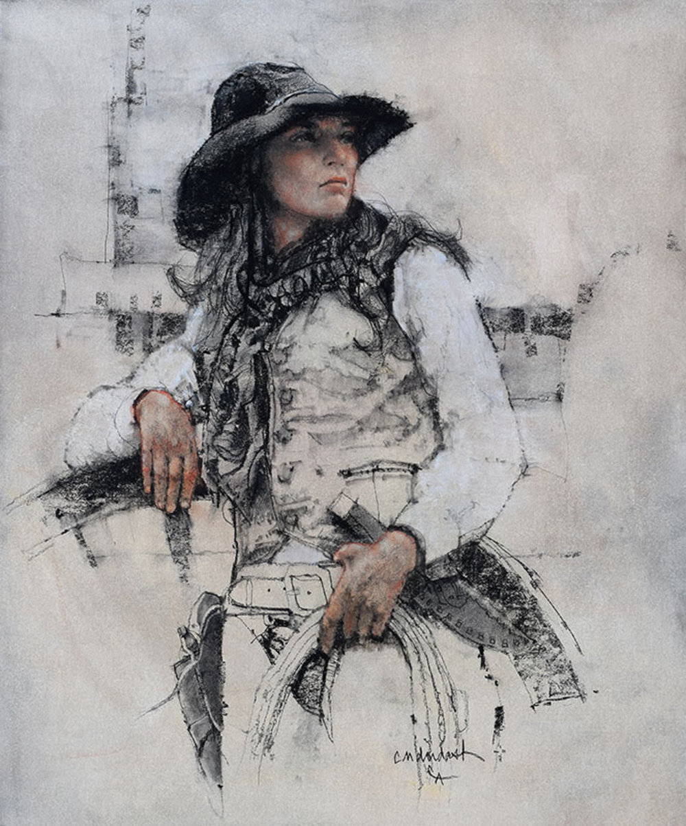"""*****SOLD*****  """"COWGIRL"""" Charcoal and Chalk on Paper 24"""" x 20"""" Sold at Cowboy Artists Of America - Cowboy Crossings 2017  WINNER OF THE GOLD MEDAL  in the Drawing Category!"""