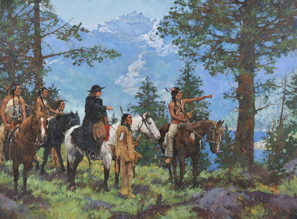 "*****SOLD***** ""THE FLATHEADS WELCOME FR. DE SMET TO THE BITTERROOTS 1842""  oil on linen - 40""h x 54""w Sold at  Prix De West , The National Cowboy And Western Heritage Museum Oklahoma City, OK  June 8-10, 2017"