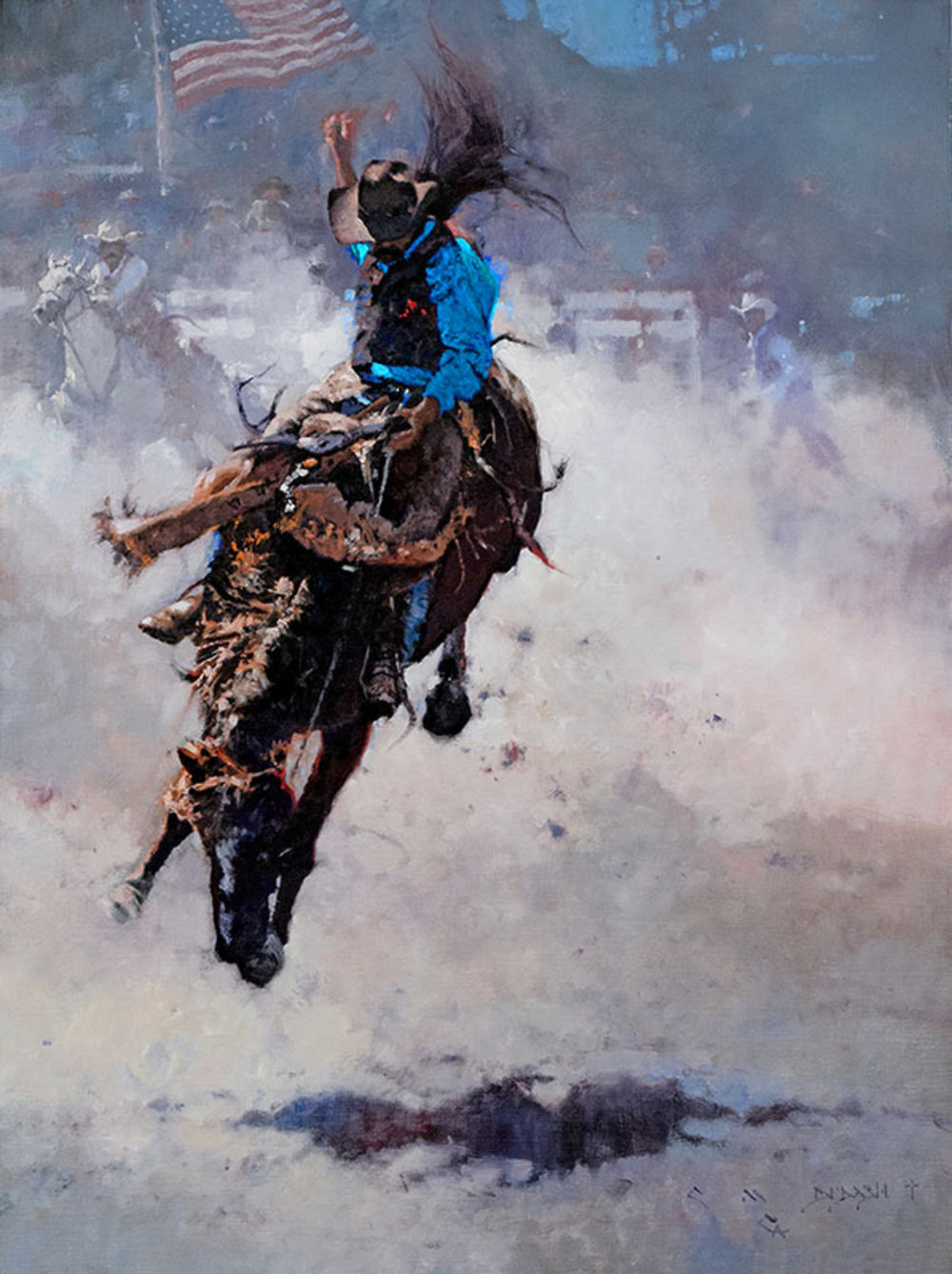 "*****SOLD*****  ""RODEO - FLYIN' HIGH""  Oil on Linen  32"" x 24"" Sold at  Quest For The West, The Eiteljorg Museum  Indianapolis, IN Sept 8-9, 2017"