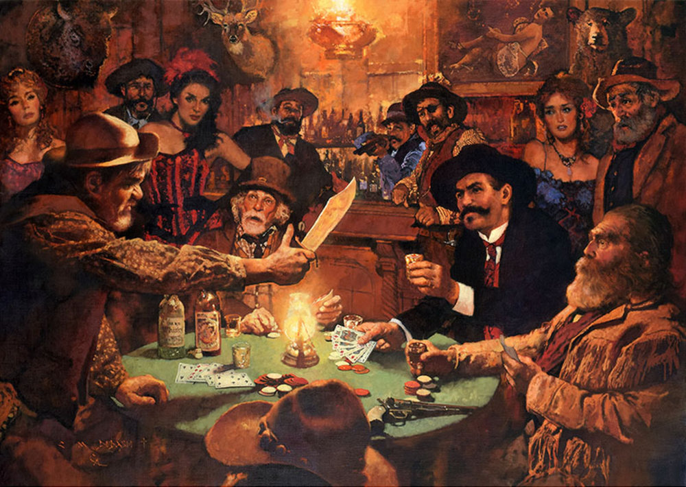 """*****SOLD*****  """"DOC HOLLIDAY TOASTING A SORE LOSER""""- oil on linen - 34""""h x 48""""w Sold at  THE SCOTTSDALE ART AUCTION  The Legacy Gallery, Scottsdale, AZ April 8, 2017"""