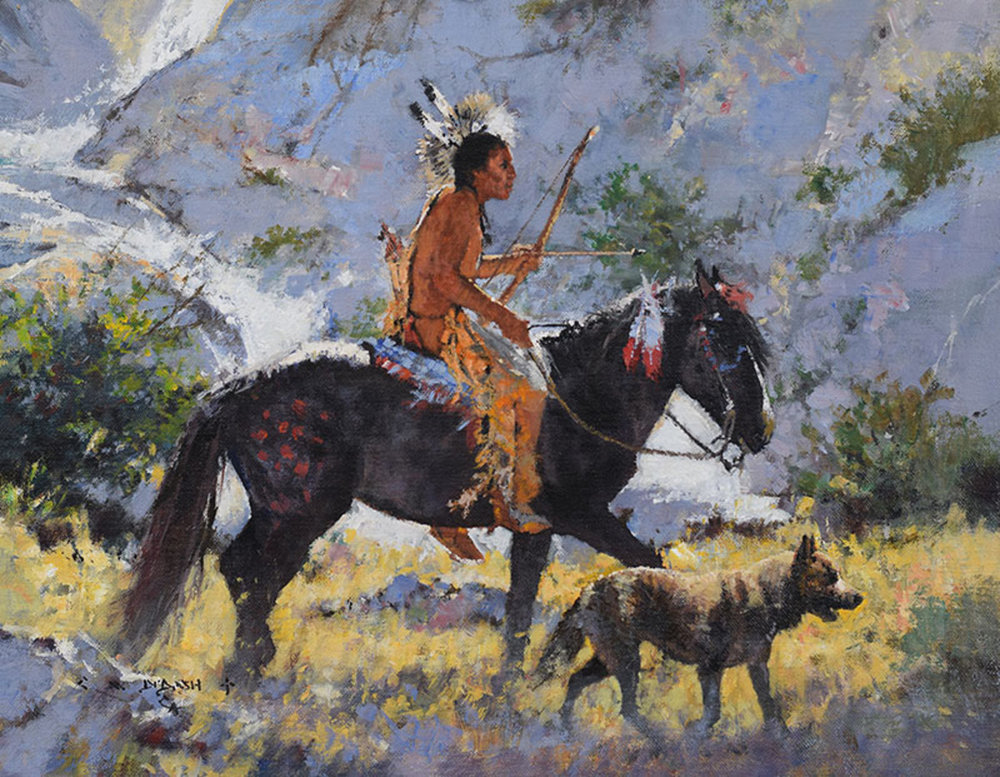 """*****SOLD***** """"THE HUNTERS"""" Oil on Linen 11"""" x 14"""" Sold at Quest For The West, The Eiteljorg Museum  Indianapolis, IN Sept 8-9, 2017"""