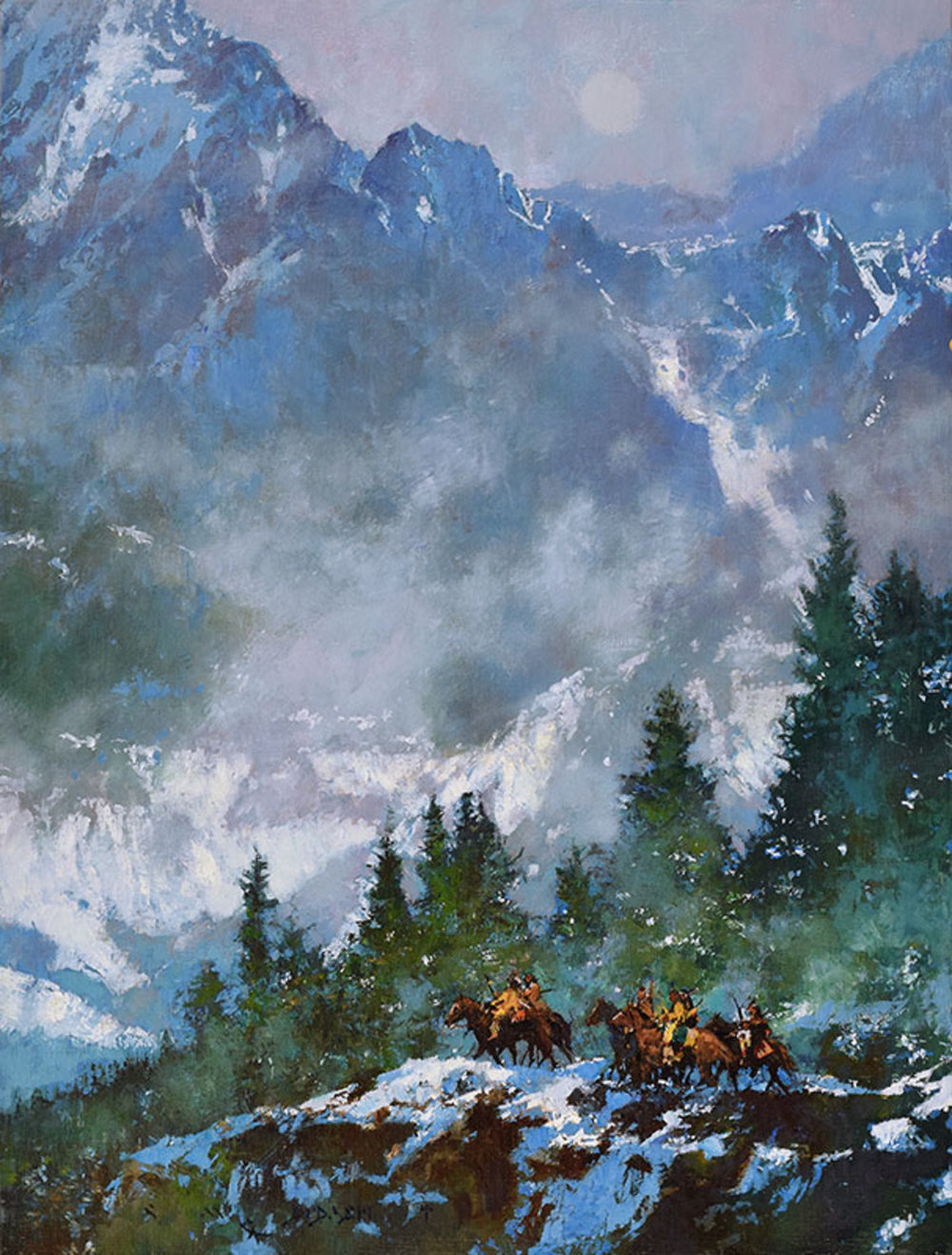 """*****SOLD*****    """"MIST ON BLUE MOUNTAIN"""" - oil on linen - 24""""h x 18""""w Sold at (Skull Society of Artists Booth)  THE EXHIBITION & SALE TO BENEFIT THE C. M. RUSSELL MUSEUM Great Falls, MT March 16-18, 2017"""